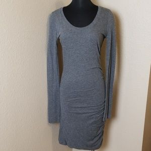 Velvet Long Sleeve Gray Bodycon Dress